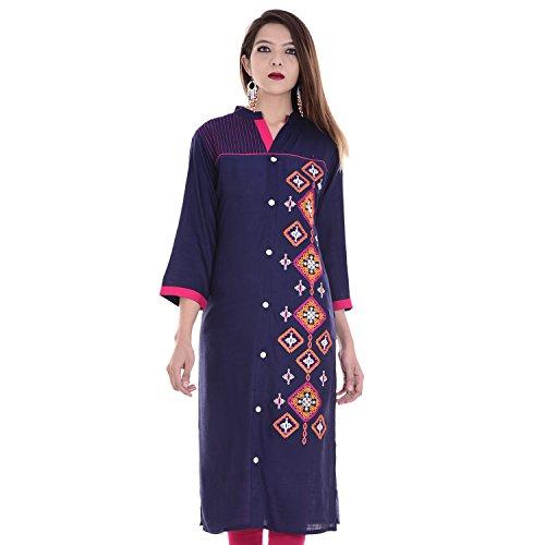 Chichi Indian Women Kurta Kurti 3/4 Sleeve X-Large Size Embroidered Straight Dark Blue Top by CHI