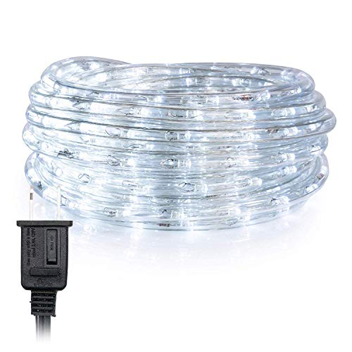 WYZworks 150 ft Cool White PRE-Assembled LED Rope Lights - 2 Wire Christmas Holiday Decoration Indoor/Outdoor Lighting | UL Certified