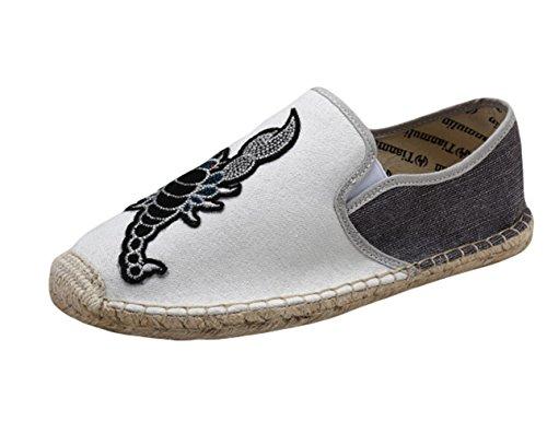 Corde Espadrilles Scorpion Chaussure Blanc Tressée Main Homme Mocassins De Marche Insun Cousue fqp8Zawx