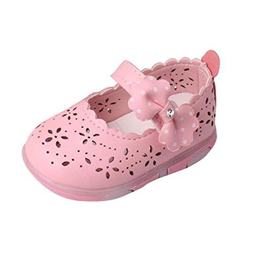 Tefamore Sandalias Encendidas Soft-Soled Princesa Zapatos Niñas Niño Bowknot Hueco(LUZ) (Tamaño:17, Rosa)