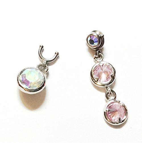 Dermal anchor top charm set, AB crystals, snap in dangle charms, exclusive Amazon package Double Bezel Earrings