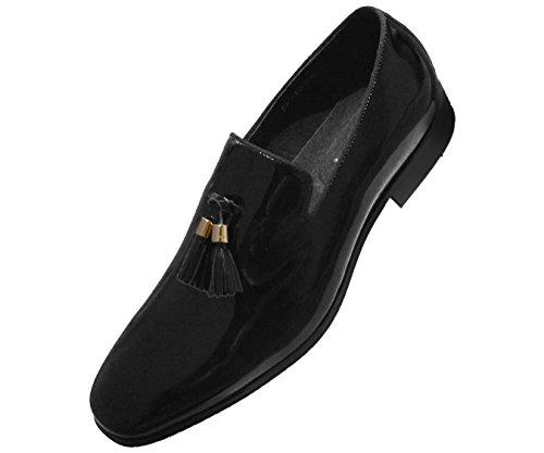 Asher Green Mens Black Patent Leather Gold Tip Tassel Slip on Tuxedo Loafer Dress Shoe : AG8451-000 Mens Black Formal Tuxedo Shoes