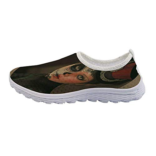 Sugar Skull Decor Jogging Walking Shoes,Antique Portrait Girl with Calavera Inspired Makeup and Topper Realistic Decorative for Women Girls,US - Antique Portraits Miniature