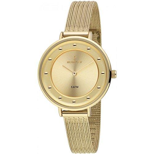 Nowley 8-5701-0-0, Reloj de mujer, correa de esterilla. Pvd dorado: Amazon.es: Relojes
