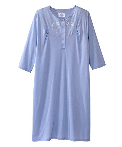 Silverts Disabled Elderly Needs Hospital Gowns - Womens Pretty Cotton Knit Hospital Gown - Back Snap Night Gowns - Easy Caregiver Assisted Dressing - Regular and Plus Sizes Available - Periwinkle XL