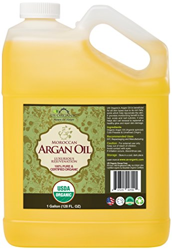 US Organic Moroccan Argan Oil, USDA Certified Organic,100% Pure & Natural, Cold Pressed Virgin, Unrefined, Origin_Morocco (1 Gallon (128 oz)) by US Organic (Image #2)