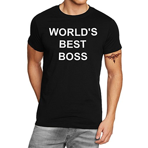 YISUMEI Men's T-Shirt Short Sleeve Tee World Best Boss Funny Quotes Black XX-Large