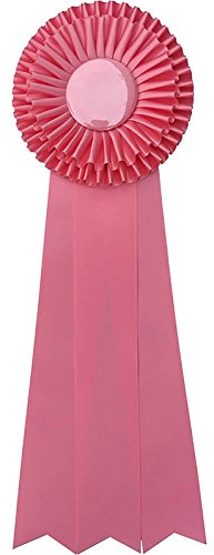 Giant Premium Ribbon Award Rosette - for Prize, Party, Gift, or Prop - 18 inch - Double Rosette with Triple Streamers (Pink)