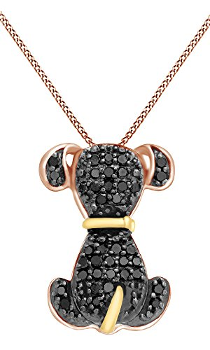 Jewel Zone US Black Natural Diamond Dog Pendant in 14k Rose Gold Over Sterling Silver (1/5 Cttw)