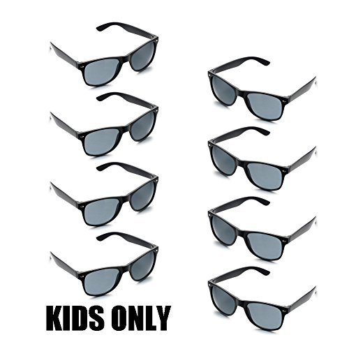 Neon Colors Party Favor Supplies Unisex Sunglasses Pack of 8 for Kids (8 Pack Black)