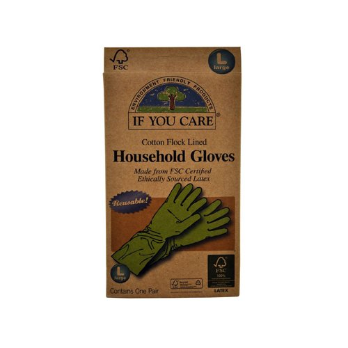 If you Care Household Reusable Gloves - Fair Rubber - Large Size - 12 Pairs
