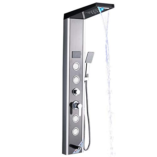 Senlesen ORB LED Light Rainfall Waterfall Shower Panel Tower Rain Massage System Faucet with Jets & Hand Shower Stainless Steel
