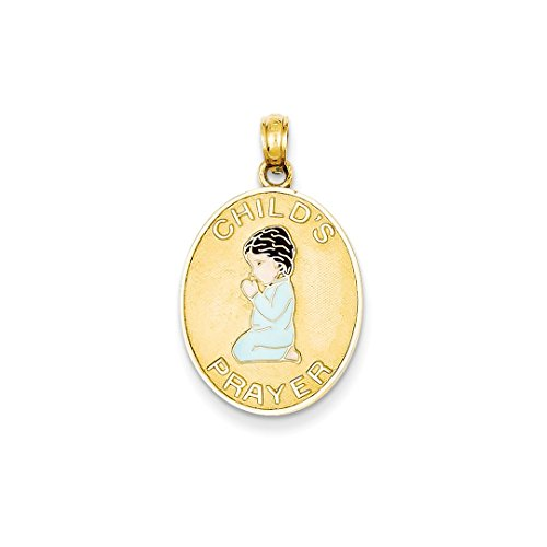 ICE CARATS 14kt Yellow Gold Childs Prayer Enameled Boy Pendant Charm Necklace Baby Fine Jewelry Ideal Gifts For Women Gift Set From Heart 14kt Gold Baby Boy Charm