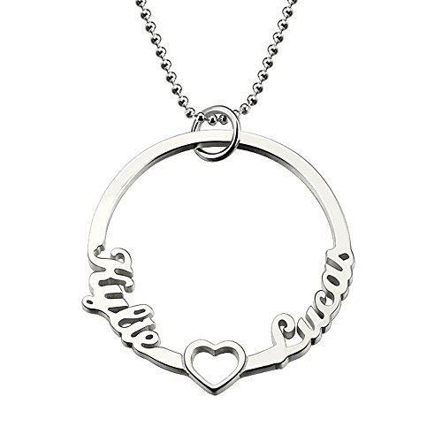 CustomNecklace Silver Circle Name Necklace Circle of Love Necklace Heart Circle 2 Names Pendant Love Heart Necklace for Couple Silver - Tiffany Pendant Initial Style