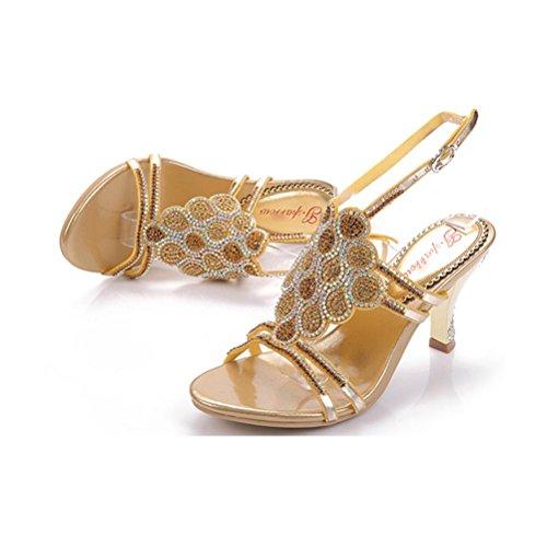 cuentas cielo a boca tacones con lentejuelas zapatos Ms baja de hebilla altos abierto fino QPYC gold lentejuelas mujer tacón sandalias de 7wPB8n0q4