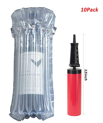 Goopack 10Pcs Wine Bottle Protector with Free Pump Leakproof Transport Wine Bag Portable Inflatable Air filled Column Packaging Bubble Bag Cushioning Wrap Travel Accessory Pack in Luggage and Suitcase