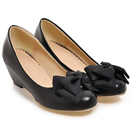 con la Zapatos Bombas arco escolares para Las Tacones cuñas el se visten medias hija Negro COOLCEPT mujeres de dulce xAaqOI