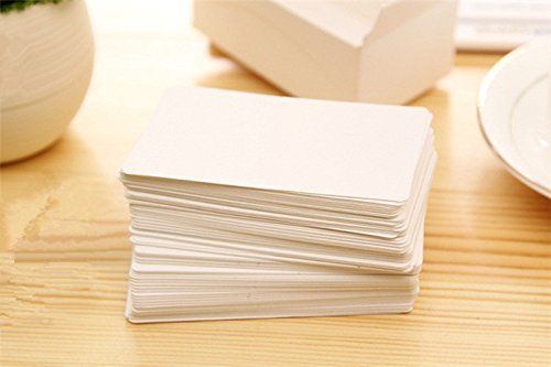 100 x white rounded corner blank business cards 250gsm card uk fecedy 100pcs blank kraft paper business cards word card message card diy gift card white reheart Choice Image