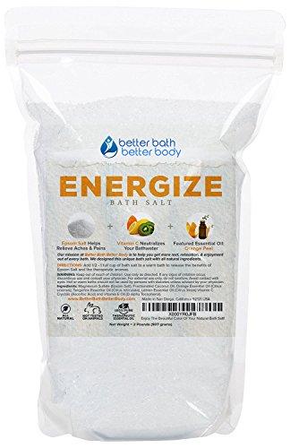 Energize Bath Salt 32oz (2-Lbs) - Epsom Salt Bath Soak With Orange Essential Oils & Vitamin C - 100% All Natural No Perfumes No Dyes - Rejuvenate Your Body & Mind Naturally