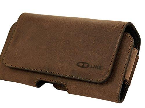 OrLine Tasche für Handys Apple Iphone 6 4,7 Zoll Gürteltasche Quertasche und Gürtel-Schlaufe und Clip Slim Design Case Echt Ledertasche Hülle Handytasche von OrLine in Antik Braun mit verdecktem Magne