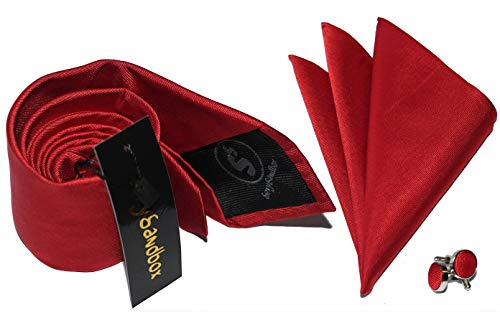 SexySandbox Men's Tie Pocket Square Cufflinks Set Solid Color Modern Slim Style with Gift Box 100% Silk Scarlet Red