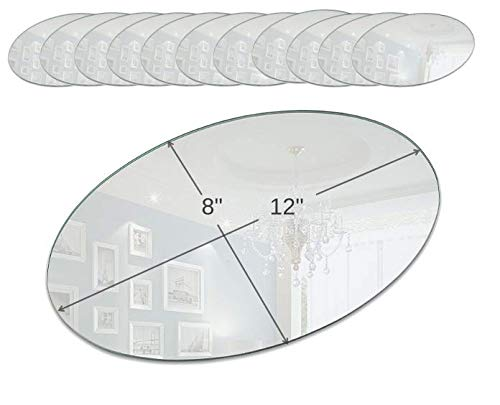 (Light In The Dark Oval Mirror Tray Set - Set of 12 Oval Mirror Plates - 12 inch x 8 inch Mirror with Round Edge - Use as Table Centerpieces, Candle Plates, Wall Décor)