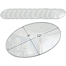 Light In the Dark Oval Mirror Tray Set - Set of 12 Oval Mirror Plates - 12 inch x 8 inch Mirror with Round Edge - Use as Table Centerpieces, Candle Plates, Wall Décor