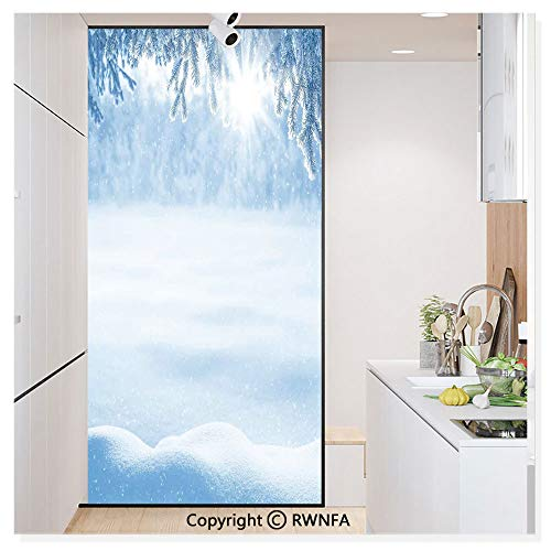 RWN Film Removable Static Decorative Privacy Window Films Psychedelic Winter Background with Snow Drifts and Cold Pine Branch Image for Glass (17.7In. by 78.7In),White