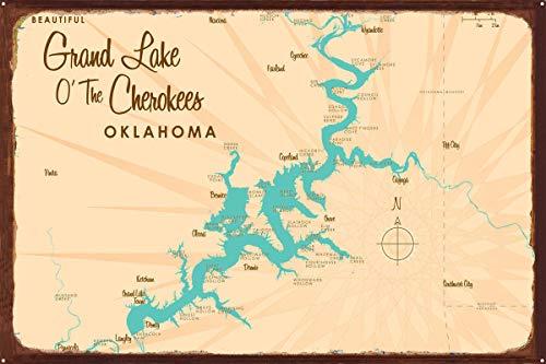 Grand Lake O' The Cherokees Oklahoma Vintage-Style Map Rustic Metal Art Print by Lakebound (24