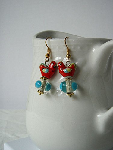 Red Rooster Earrings Ceramic & Lampwork Glass Beads