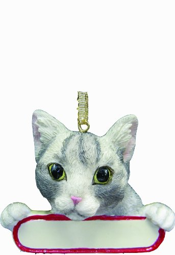 """Tabby Cat Ornament Silver """"Santa's Pals"""" With Personalized Name Plate A Great Gift For Tabby Cat Lovers"""