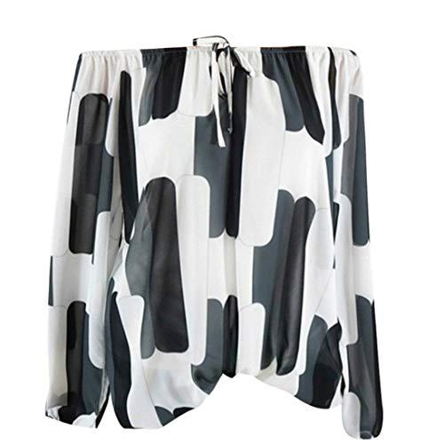 iTLOTL Women Casual Cold Off Shoulder Irregular Print Long Sleeve Tops Shirt Blouse(White,US-18/CN-4XL) -