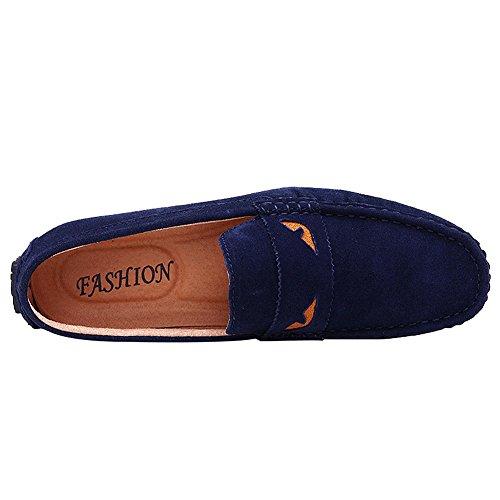 rismart Homme Conduite Voiture Flâneurs Glisser Sur Suède Cuir Plat Mocassins Chaussures K0085(Marine,EU42)