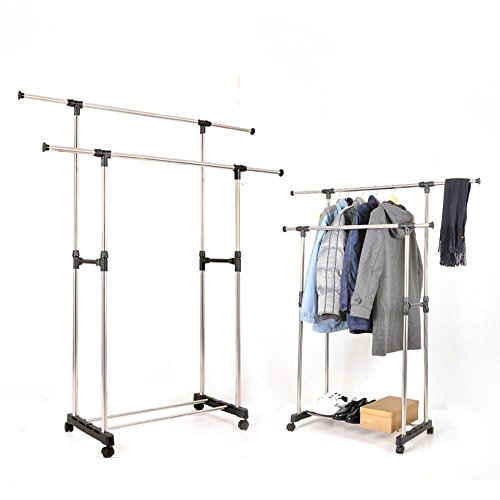 IUME Double Rail Clothes Rack Adjustable Heavy Duty Clothes Garment Rolling Rack With 4 Wheels For (Heavy Duty Mobile Garment Rack)