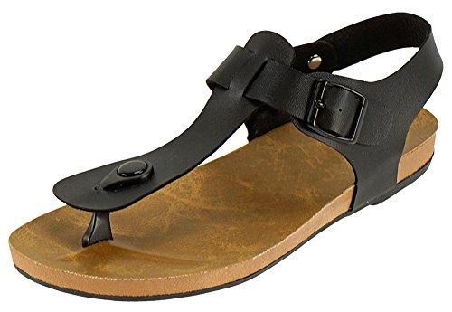 Cambridge Select Dames T-strap String Gesp Vlak Sandaal Zwart