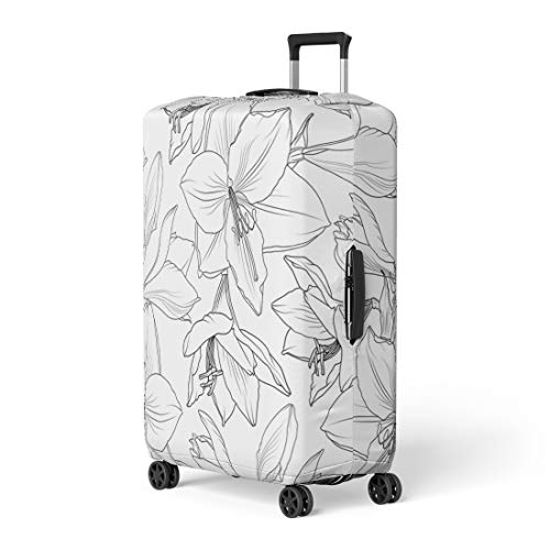 Pinbeam Luggage Cover Amaryllis Hippeastrum Lilly Floral Spring Summer Flowers Detailed Travel Suitcase Cover Protector Baggage Case Fits 26-28 inches