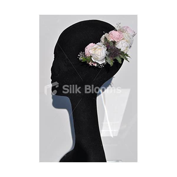Gorgeous Fresh Touch Ivory and Pink Peony Hair Comb with Silk Zinnias and Thistle