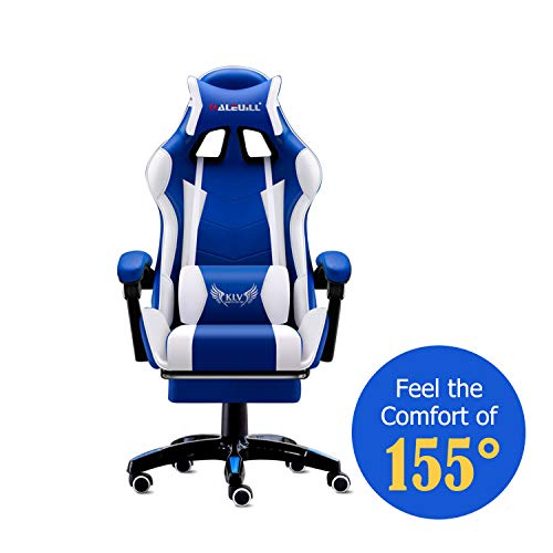 MOOSENG Video Gaming Chair Racing Office-PU Leather High Back Ergonomic 155 Degree Adjustable Swivel Executive Computer Desk Task Large Size with Footrest,Headrest and Lumbar Support (Blue, White