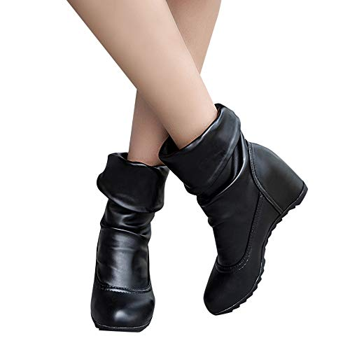 Outtop(TM) Women Increase Within Shoes Lady Casual Button Wedges Round Toe Warm High Heel Boots (US:6.5, Black)
