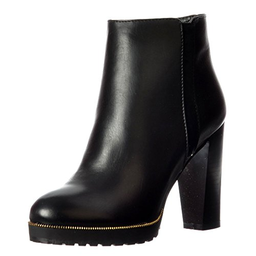 Women's Mid Ladies Ankle Burgundy Black Gold Boot Tan Black Block Studs Onlineshoe Heel IdwTw