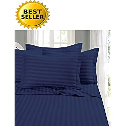 Elegant Comfort #1 Bed Duvet Cover Set on Amazon - Super Silky Soft - 1500 Thread Count Egyptian Quality Luxurious Wrinkle, Fade, Stain Resistant 3-Piece STRIPE Duvet Cover Set, King/Cal-King, Navy