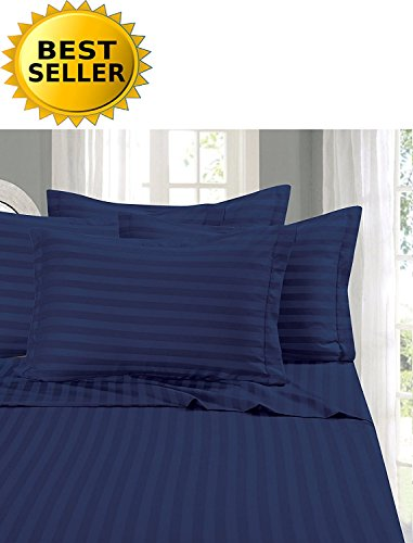 Elegant Comfort #1 Bed Duvet Cover Set on Amazon - Super Silky Soft - 1500 Thread Count Egyptian Quality Luxurious Wrinkle, Fade, Stain Resistant 3-Piece STRIPE Duvet Cover Set, Full/Queen, Navy