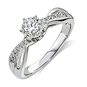 Engagement Diamond .340 CTW Round I color SI1 clarity 10k Yellow Gold Ring MADE IN THE USA