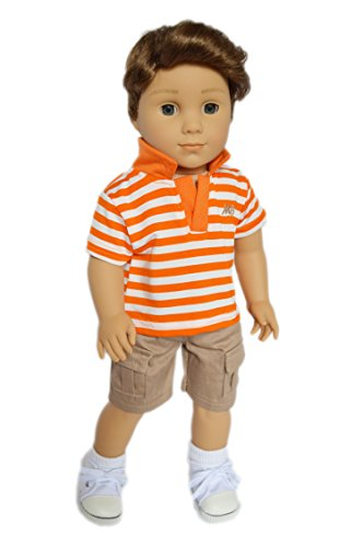 Brittany's My Orange N' Khaki Boys Outfit Compatible with American Girl Boy Dolls- 18 Inch Boy Doll Clothes