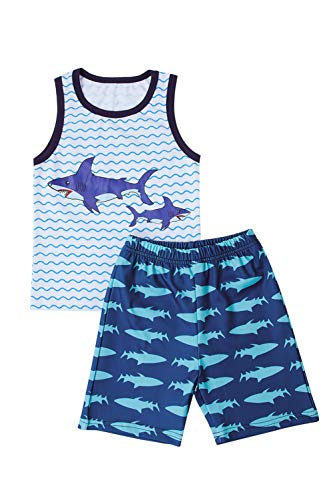 Belovecol Toddler Boys Summer Outfits Baby Shark Doo Doo Doo Print Clothes Cotton Sleeveless Outfits Tops and Short Pants for 12-18 Months Blue Stripes