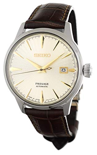 "SEIKO PRESAGE Automatic Cocktail Time""Golden Champagne"" Brown Leather Watch SRPC99J1"