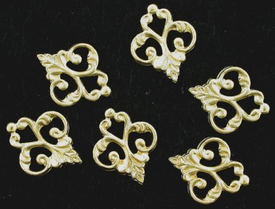 Eight 15mm x 13mm ORNATE GOLD COLOR FILIGREE FINDINGS
