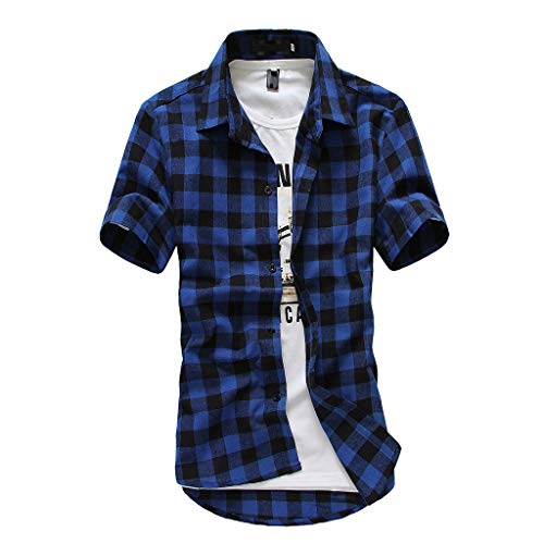 SMALLE◕‿◕ Men's Short Sleeve Turn-Down Collar Plaid Painting Large Size Casual Blouse-Fashion People Essentials Dark Blue from SMALLE_Clothing