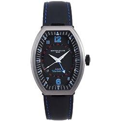 Montres De Luxe Men's EXN 9601 Estremo Titanium and Black Aluminum Luminous Red Top Stitched Leather Date Watch