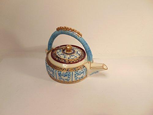 Asian Art Inspired Miniature Blue White Enameled Tea Pot by Nini